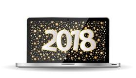För hälsningkort för nytt år begrepp 2018 på den öppnade anteckningsboken Arkivbild