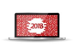 För hälsningkort för nytt år begrepp 2018 på den öppnade anteckningsboken Royaltyfri Foto