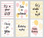 För för hälsningkort och parti för lycklig födelsedag mallar för inbjudan, vektorillustration, hand dragen stil vektor illustrationer