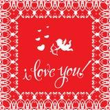 ` För hälsningkortet älskar jag dig! `, Arkivbilder