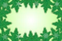 För hälsningkortet för det lyckliga nya året gran förgrena sig och snöflingor royaltyfri illustrationer