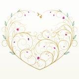 för hälsningshjärta för kort blom- vektor Royaltyfria Bilder