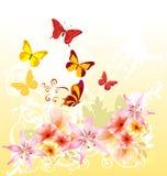 För hälsningskort för tecknad film blom- design Stock Illustrationer