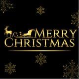 För hälsningskort för glad jul svart och guld Royaltyfri Bild