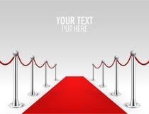 För händelsesilver för röd matta illustration för vektor för bakgrund för barriärer realistisk För ingångskändis för röd matta ly Royaltyfria Foton