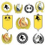 För hästsymboler för vektor fastställt symbol Royaltyfri Foto