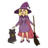 För häxaallhelgonaafton för liten flicka bärande dräkt och svart katt Arkivbilder