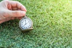 För hållande guld- klocka tappningfack för hand med grönt gräs, abstrakt begrepp för tidbegrepp med kopieringsutrymme Arkivbild