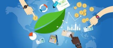 För hållbarhettillväxt för hållbar utveckling miljö för begrepp för ekonomi för gräsplan Arkivbilder