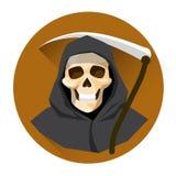 För hålllie för grym skördemaskin skelett- symbol för ferie för allhelgonaafton stock illustrationer
