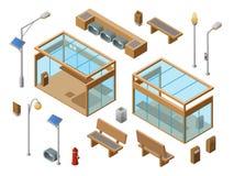 För hållplatsbegrepp för vektor isometrisk uppsättning för objekt royaltyfri illustrationer