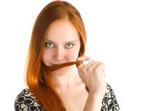 för hår red long arkivfoton