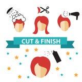 För hårsalong för vektor fastställda etiketter och symboler Royaltyfria Bilder
