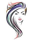 För hårstil för kvinnor vänder mot den långa symbolen, logokvinnor på vit bakgrund stock illustrationer