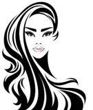 För hårstil för kvinnor lång symbol, logokvinnor på vit bakgrund stock illustrationer