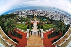 för haifa för babbahaiträdgårdar sikt relikskrin fotografering för bildbyråer
