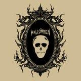 För halloween för emblem för tappninghandattraktion illustration för vektor klistermärkear stock illustrationer