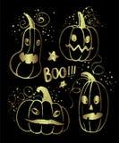 För halloween för färgpulver hand drog tecken pumpa stock illustrationer
