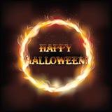 För halloween för brand lyckligt kort inbjudan Royaltyfri Foto
