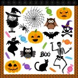 för halloween för collage digitalt trick för treat natt stock illustrationer