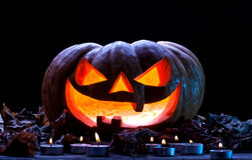 för halloween för dator 3d mörk frambragd pumpa bild Arkivfoton