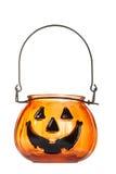 för halloween för stearinljus glass pumpa hållare Royaltyfri Foto