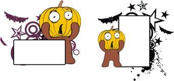 För halloween för pumpaungetecknad film utrymme kopia vektor illustrationer