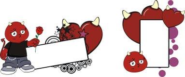 För halloween för tecknad film för Rose Red demonunge utrymme kopia stock illustrationer