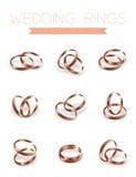 För halvarundan för vigselringar komponerar rosa guld- stil design Royaltyfri Bild