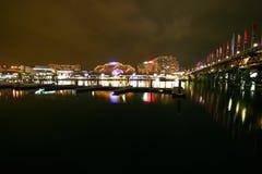 för hamnnatt för cbd bedårande scape sydney Royaltyfri Foto