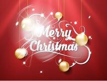 För handattraktion för glad jul bokstäver med leksaker bubblar på röd bakgrund och ljus effekt Denna är den redigerbara vektorill Fotografering för Bildbyråer