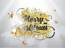 För handattraktion för glad jul text för bokstäver med guld- stjärnaang blänker texturer på silverbakgrund med ljusa effekter EPS royaltyfri illustrationer
