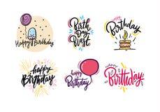 För handattraktion för lycklig födelsedag uppsättning för bokstäver för vektor Tecknad filmstil bakgrund isolerad white royaltyfri illustrationer