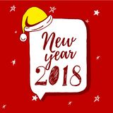 För handbokstäver för lyckligt nytt år 2018 text på röd bakgrund Vektorhälsningkort för kortet för nytt år, affisch, design Arkivbild