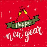 För handbokstäver för lyckligt nytt år 2018 text på röd bakgrund Vektorhälsningkort för kortet för nytt år, affisch, design Fotografering för Bildbyråer