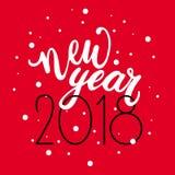 För handbokstäver för lyckligt nytt år 2018 text på röd bakgrund Vektorhälsningkort för kortet för nytt år, affisch, design Royaltyfri Bild