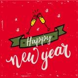 För handbokstäver för lyckligt nytt år 2018 text på röd bakgrund Vektorhälsningkort för kortet för nytt år, affisch, design Royaltyfria Foton