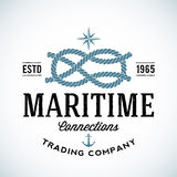 För handelsföretagvektor för tappning maritim logo vektor illustrationer