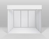 För handelutställning för vit standard ställning för tomt inomhus bås för presentationen med bakgrund vektor illustrationer
