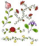 för handfjäder för 3 tecknad blommor vektor Royaltyfri Foto