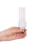 för handholding för kula kompakt fluorescerande lampa Royaltyfri Foto