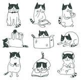 för handillustration för katter gullig tecknad set royaltyfri illustrationer