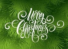 För handskriftskrift för glad jul bokstäver Hälsningbakgrund med en julgran också vektor för coreldrawillustration Arkivfoton