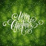 För handskriftskrift för glad jul bokstäver Hälsningbakgrund med en julgran också vektor för coreldrawillustration Royaltyfri Bild
