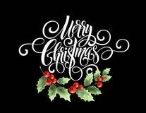 För handskriftskrift för glad jul bokstäver Julhälsningkort med järnek också vektor för coreldrawillustration Royaltyfri Foto