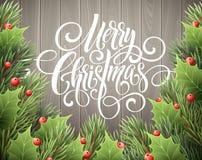 För handskriftskrift för glad jul bokstäver Julhälsningkort med järnek också vektor för coreldrawillustration Royaltyfri Fotografi