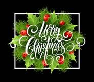 För handskriftskrift för glad jul bokstäver Julhälsningkort med järnek också vektor för coreldrawillustration Royaltyfri Bild