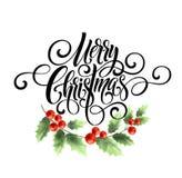 För handskriftskrift för glad jul bokstäver Julhälsningkort med järnek också vektor för coreldrawillustration Fotografering för Bildbyråer