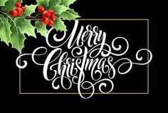För handskriftskrift för glad jul bokstäver Julhälsningkort med järnek också vektor för coreldrawillustration Arkivfoto