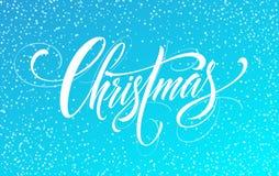 För handskriftskrift för glad jul bokstäver på en ljus kulör bakgrund också vektor för coreldrawillustration Arkivbilder